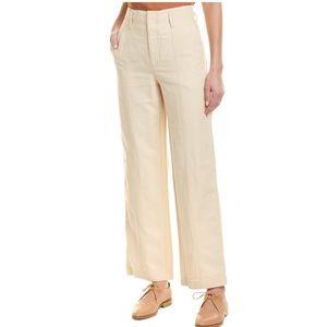 Vince Wide Leg Linen Blend High Rise Pants Cream 4